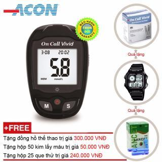 Máy đo đường huyết Acon ON CALL Plus Vivid + Tặng hộp 25 que thử + Hộp 50 kim chích máu và Đồng hồ thể thao thumbnail