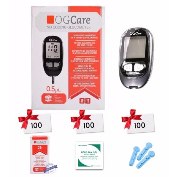 Máy đo đường huyết Ogcare Kèm 100 que thử 100 kim 100 bông tẩm cồn bán chạy