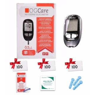 Máy đo đường huyết Ogcare Kèm 100 que thử 100 kim 100 bông tẩm cồn thumbnail