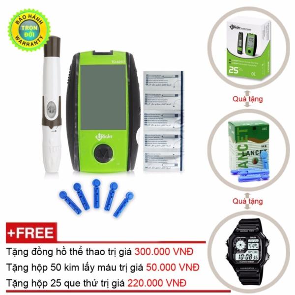 Máy đo đường huyết Uright TD-4267 + Hộp 50 kim chích máu + Hộp 25 que thử đường huyết Uright và đồng hồ thể thao bán chạy
