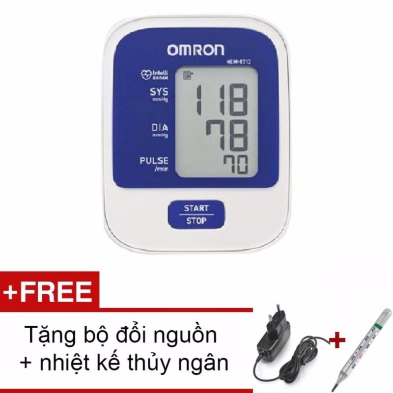 Máy đo huyết áp bắp tay Omron HEM-8712 BH 5 Năm + Tặng bộ đổi nguồn và Nhiệt kế thủy ngân nhập khẩu