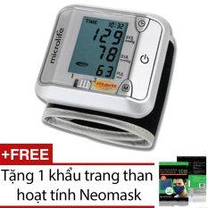 Nơi bán Máy đo huyết áp cổ tay Microlife 3BJ1 4D (Trắng phối xám) + Tặng 1 khẩu trang than hoạt tính Neomask