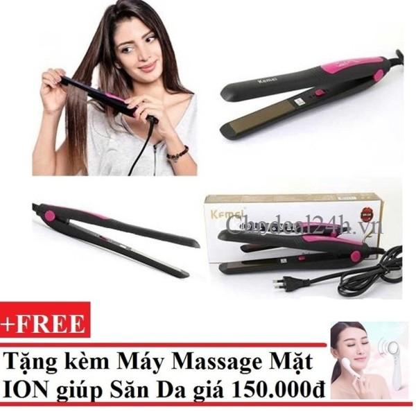 [HCM]Máy kẹp tóc Kemei Km-328 + Tặng Máy massage mặt DS-039 bằng ion (Trắng) nhập khẩu
