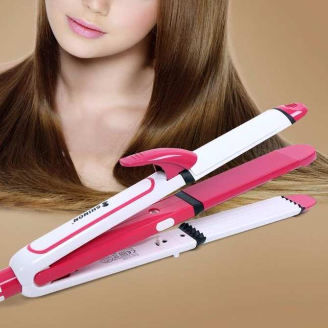 Máy làm tóc đa năng uốn duỗi bấm tóc 3 trong 1 SHINON 8088 (Hồng)