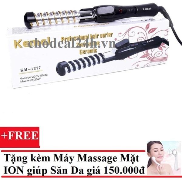 [HCM]Máy uốn tóc xoắn ốc kemei Km-1377 + Tặng Máy massage mặt DS-039 bằng ion (Trắng)