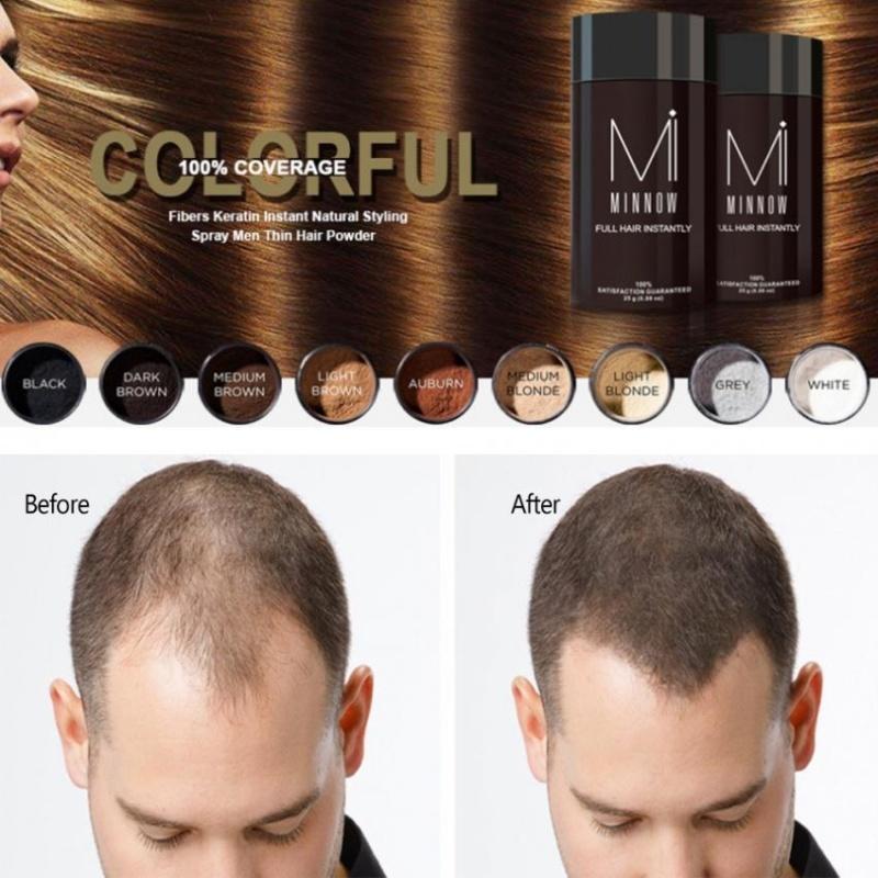 Minnow Nam Hói Đầu Che Khuyết Điểm Làm Dày Tóc Xây Dựng Sợi Bột Màu Đen-quốc tế