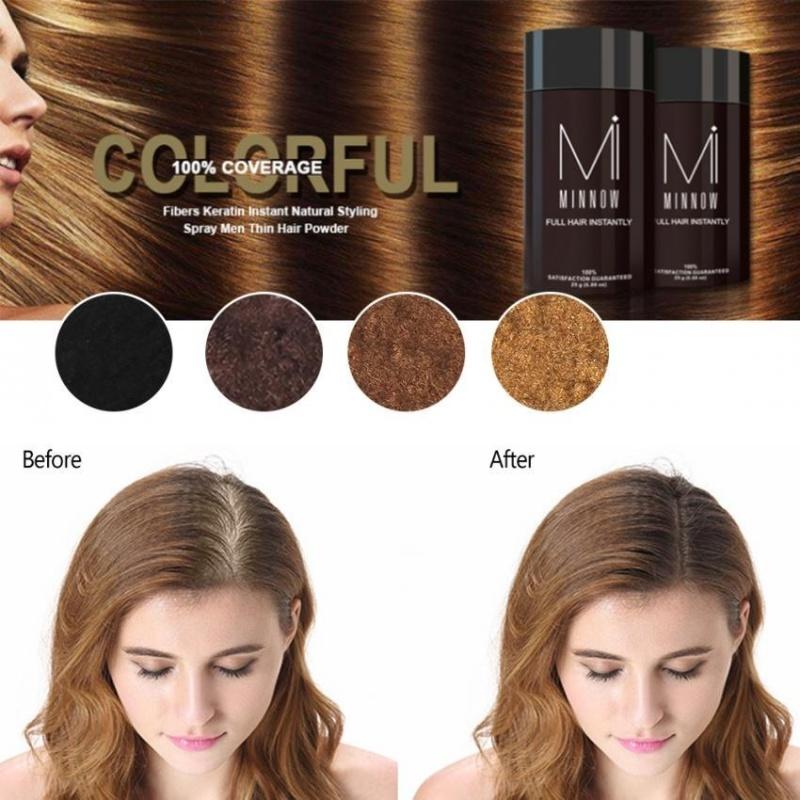 Minnow Nữ Hói Đầu Che Khuyết Điểm Làm Dày Tóc Xây Dựng Sợi Bột Màu Nâu Đen-quốc tế giá rẻ