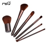 Ôn Tập Msq 6Pcs Professional Coffee Makeup Brushes Set Wood Handle Cosmetic Tools With Storage Bag Intl Trong Vietnam