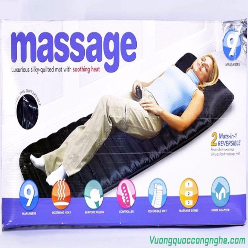 Nệm massage toàn thân Giá Tốt 360 cao cấp 9 điểm massage (Đen)