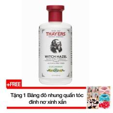 Nước hoa hồng không cồn hương dưa leo THAYERS® Alcohol-Free Cucumber Witch Hazel Toner 355ml (Dành cho da nhờn và da mụn) + Tặng 1 Băng đô nhung quấn tóc đính nơ xinh xắn nhập khẩu