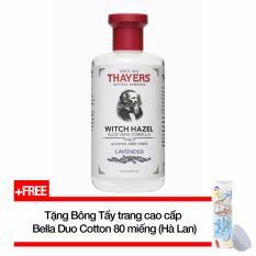 Nước hoa hồng không cồn hương Lavender THAYERS® Alcohol-Free Lavender Witch Hazel Toner 355ml  (Dành cho da mụn) + Tặng Bông tẩy trang cao cấp Bella Duo Cotton 80 miếng nhập khẩu