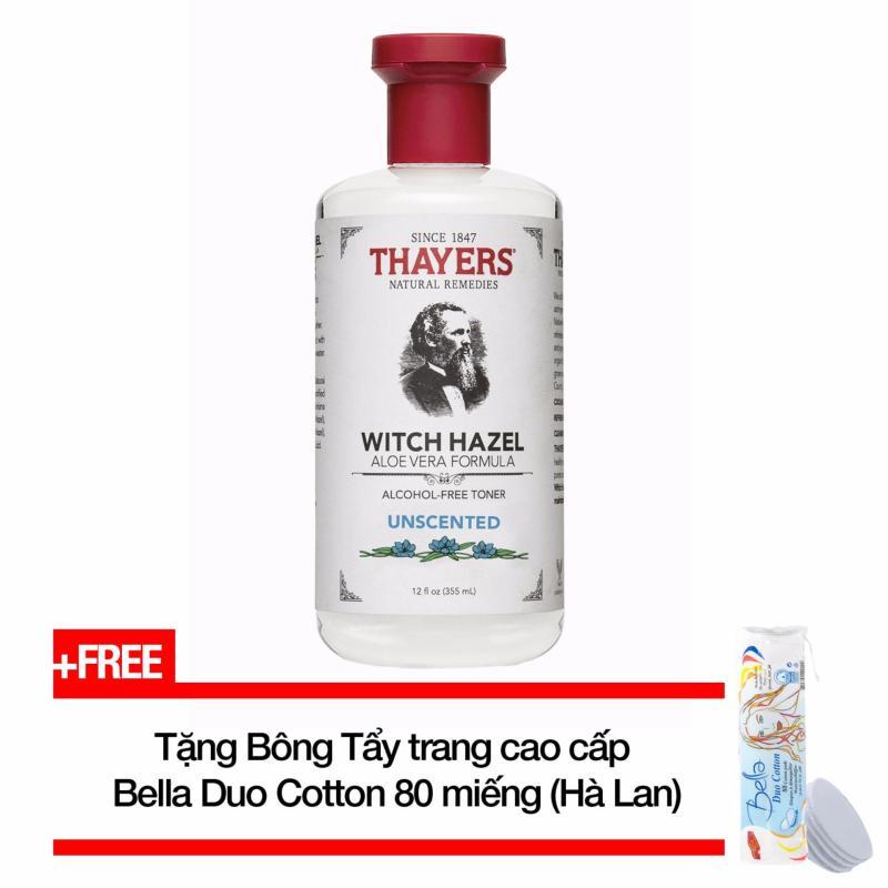 Nước hoa hồng không cồn THAYERS® Alcohol-Free Unscented Witch Hazel Toner 355ml (Dành cho da nhờn và da mụn) + Tặng Bông tẩy trang cao cấp Bella Duo Cotton 80 miếng (Hà Lan) nhập khẩu