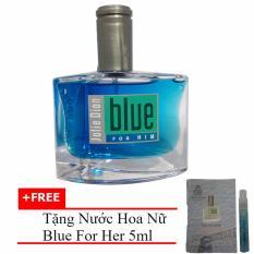 Nước hoa nam cá tính Jolie Dion Blue For Him Eau de Parfum 60ml + Tặng Nước hoa nữ Blue For Her eau de parfum 5ml