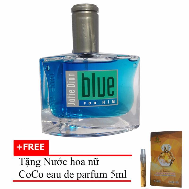Nước hoa nam cá tính Jolie Dion Blue For Him Eau de Parfum 60ml + Tặng Nước hoa nữ CoCo eau de parfum 5ml