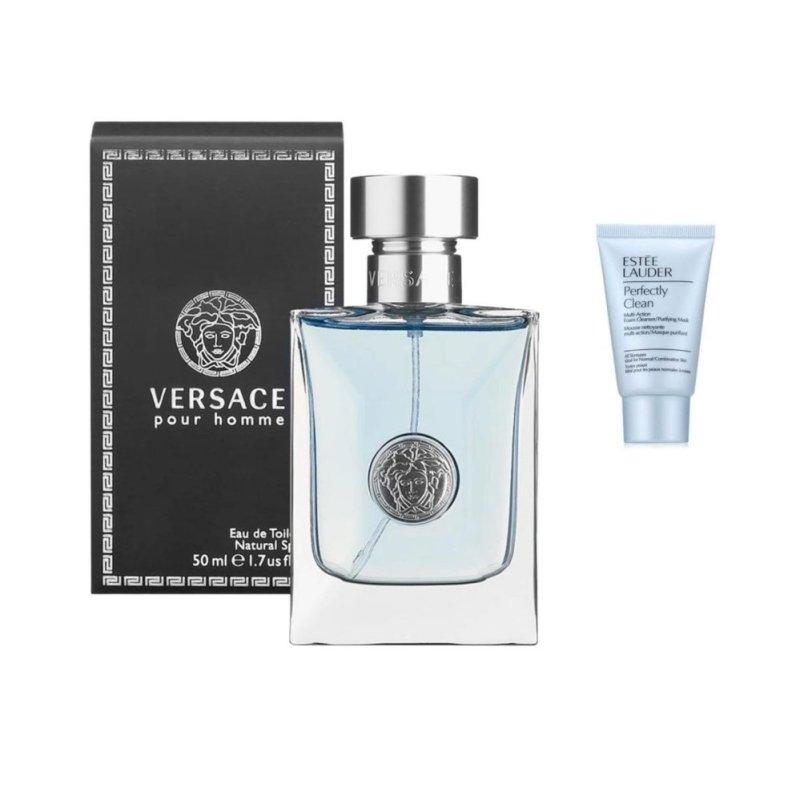 Nước hoa nam Versace Pour Homme Eau de toilette 50 ml  + Tặng 01 Sữa rửa mặt Estee Lauder  30 ml