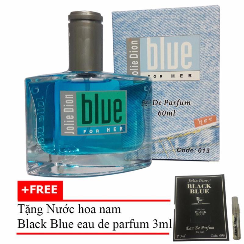 Nước hoa nữ Jolie Dion Blue For her eau de parfum 60ml + Tặng Nước hoa nam Black Blue eau de parfum 3ml