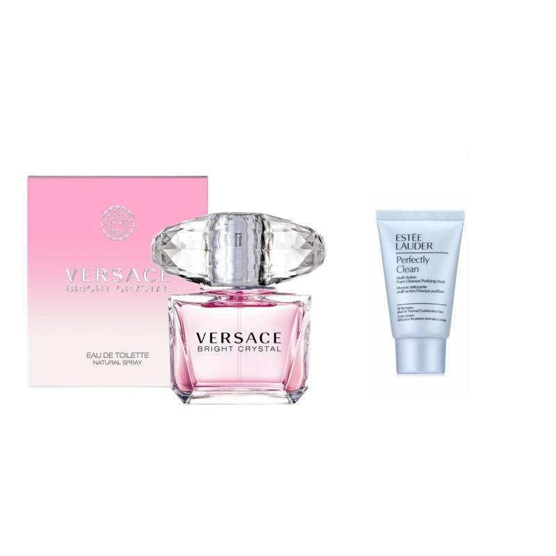 Nước hoa nữ Versace Bright Crytal Eau de Toilette 50 ml + Tặng 01 sữa rửa mặt Estee Lauder Perfectly Clean 30 ml