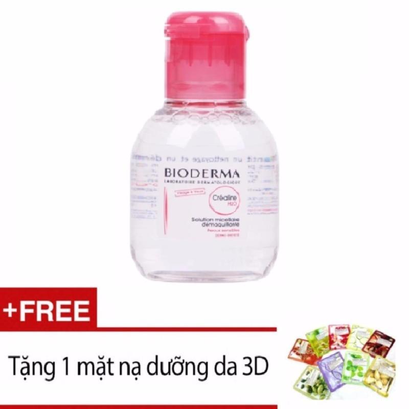 Nước tẩy trang dành cho da nhạy cảm hoặc da khô Bioderma Sensibio H20 100ml + Tặng 1 mặt nạ đắp dưỡng da 3D (Màu ngẫu nhiên)