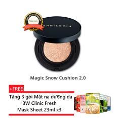 Ôn Tập Phấn Nước Phien Bản Mới April Skin Magic Snow Cushion Black 2 Spf50 Pa No 23 Natural Beige Tặng 3 Goi Mặt Nạ Dưỡng Da 3W Clinic Fresh Mask Sheet April Skin Trong Hồ Chí Minh