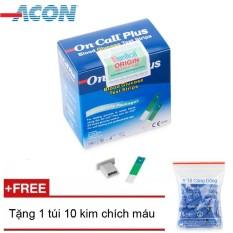 Que thử đường huyết Acon On call Plus  25 que (Xanh trắng) + Tặng 1 túi 10 kim chích máu