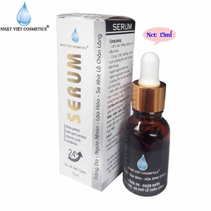 Serum trắng da - Ngừa nhăn - Lão hóa - Se khít lỗ chân lông Ngọc Trai Đen - Sữa Ong Chúa Nhật Việt Cosmetics (15ml) cao cấp