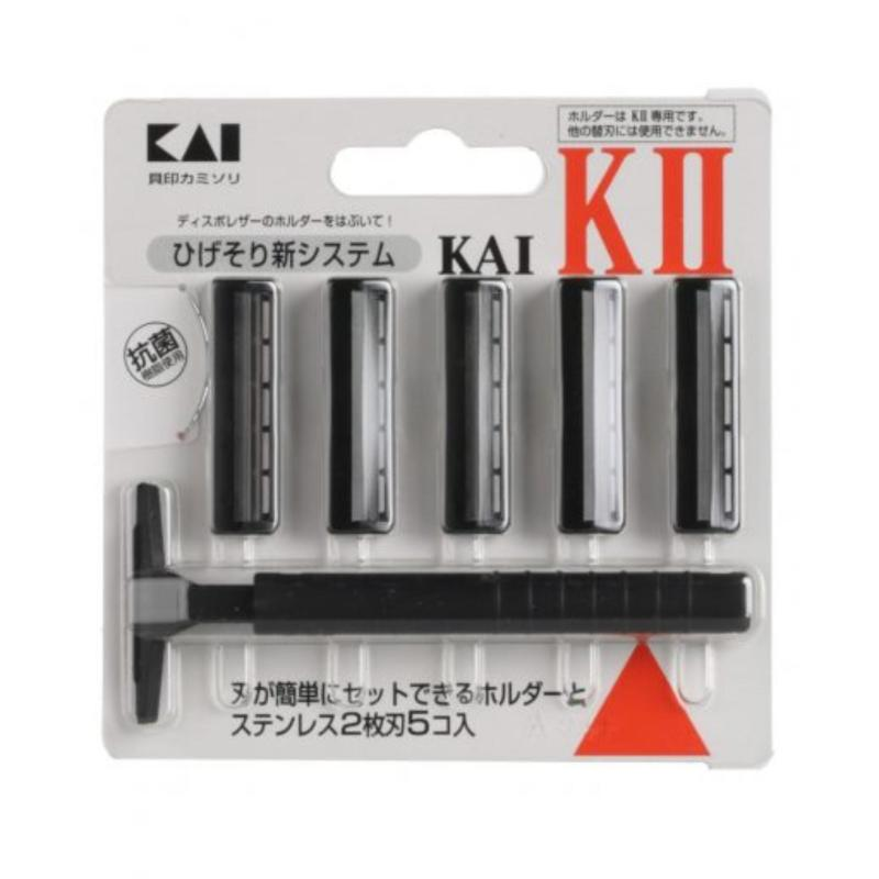 Set Dao cạo râu 2 lưỡi kép KAI KAI (1 thân, 5 lưỡi) Nhập khẩu từ Nhật Bản