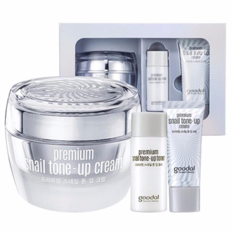 Set dưỡng trắng tức thì chiết xuất Ốc Sên Goodal Premium Snail Tone Up Cream Special Set [3 Items] nhập khẩu