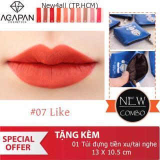 Son AGAPAN 07 LIKE Lipstick (Đỏ cam) + Tặng ví bóp đựng tai nghe tiền xu dễ thương thumbnail