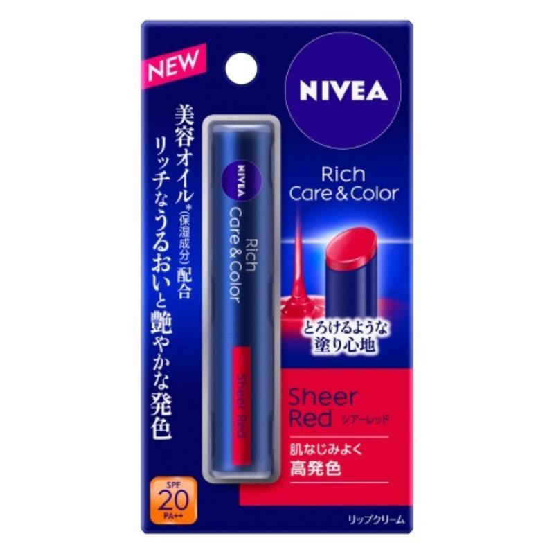 Son dưỡng môi có màu Nivea Nhật Bản Rich care and color SPF20 PA++ 2.0g-Màu đỏ Sheer Red nhập khẩu