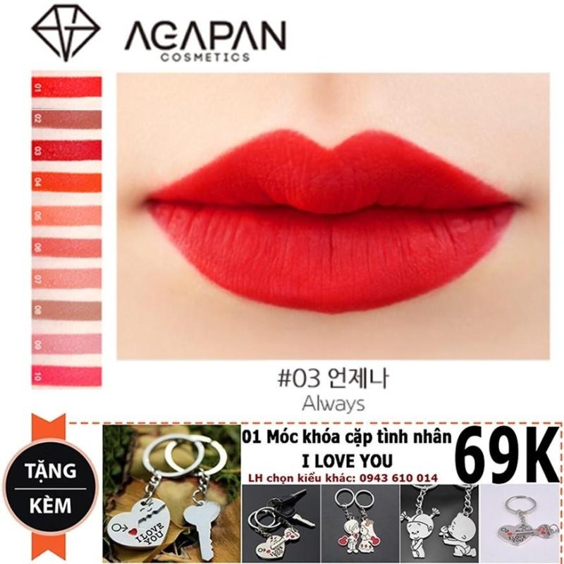 Son lì dạng thỏi Agapan Pit A Pat Matte Lipstick #03 Always + Tặng móc khóa tình yêu trị giá 69K cao cấp