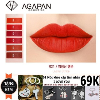 Son môi siêu li Agapan R21 Red Edition Limited Lipstick 4g + Tă ng mo c kho a ti nh yêu New4all thumbnail