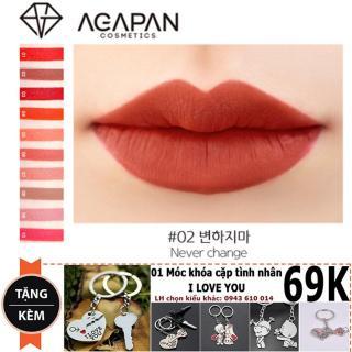 Son thỏi Agapan 2 Pit A Pat Never Change Lipstick + Tặng 01 cặp móc khóa đôi (Tone đỏ gạch trầm lắng) thumbnail