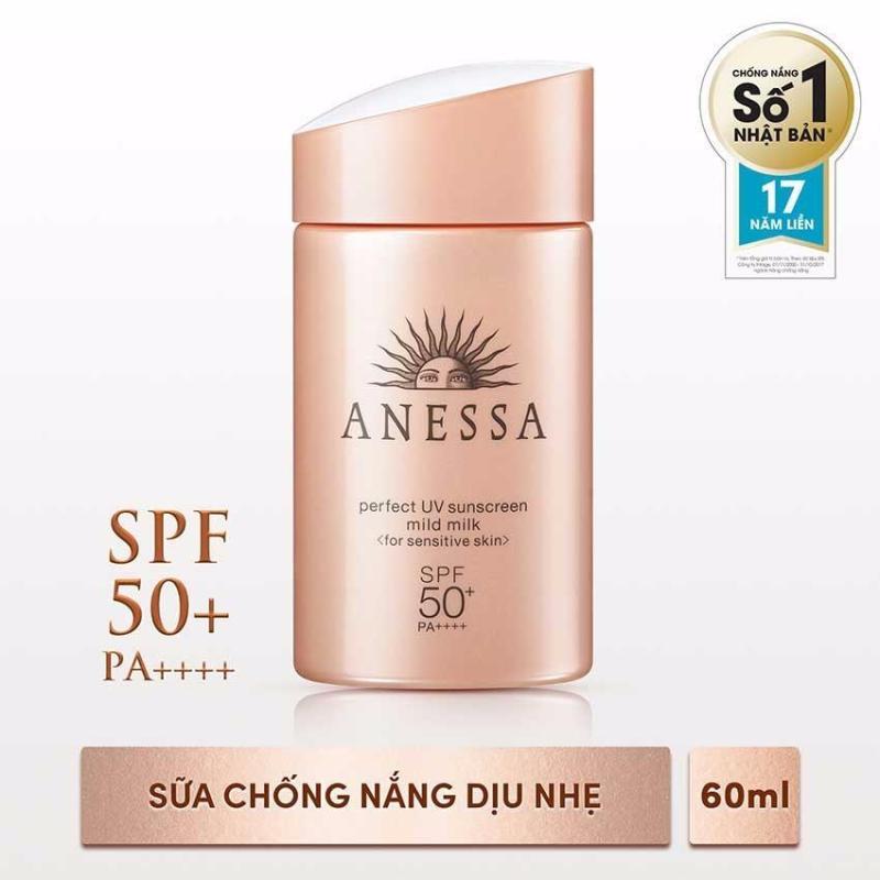 Sữa chống nắng dịu nhẹ cho da nhạy cảm Anessa Perfect UV Sunscreen Mild Milk - SPF50+, PA++++ - 60ml nhập khẩu