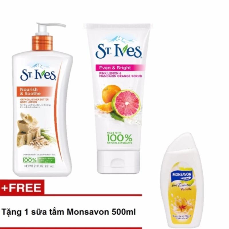 Sữa dưỡng thể St.Ives Yến Mạch Và Bơ Shea 621ml + sữa rửa mặt Tẩy Tế Bào Chết St.Ives Cam Chanh 170g + tặng 1 sữa tắm Monsavon 500ml