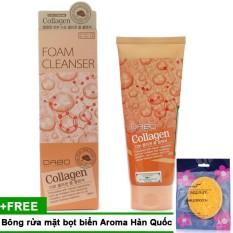 Giá Bán Sữa Rửa Mặt Tai Tạo Da Collagen Cao Cấp Han Quốc 180Ml Bong Rửa Mặt Bọt Biển Massage Aroma Sponge Puff Han Quốc 7G Hang Chinh Hang Mới
