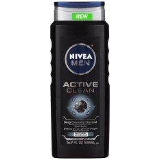 Sữa tắm cho nam giới NIVEA Men Active Clean Natural Charcoal Body Wash 500ml (Mỹ)