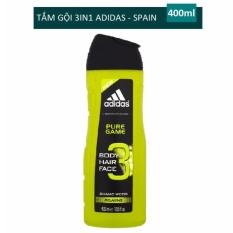 Hình ảnh Sữa tắm gội rửa mặt 3 trong 1 cho nam 400ml Adidas 3 in 1 Pure game