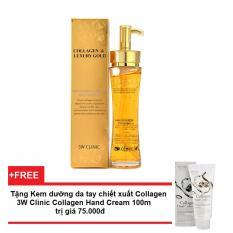 Tinh chất dưỡng trắng, tái tạo da chống lão hóa 3W Clinic Collagen Luxury Gold 150ml + Tặng Kem dưỡng da tay chiết xuất collagen 3W Clinic Collagen Hand Cream 100ml trị giá 75.000đ
