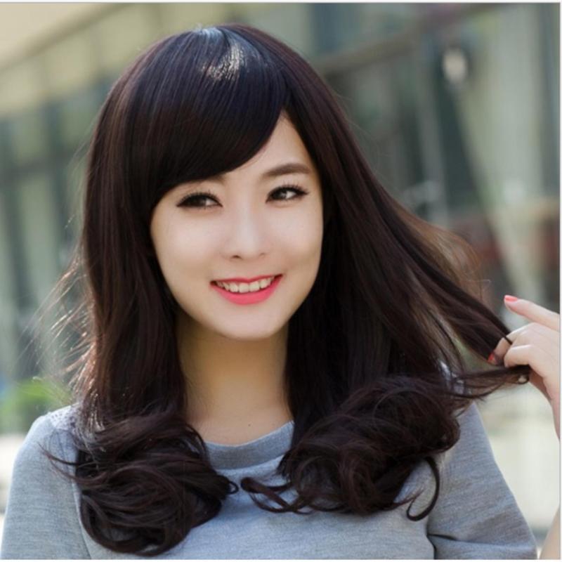 Tóc giả nữ Hàn Quốc cao cấp có da đầu + tặng kèm Lưới trùm tóc -  TG4855 ( MÀU ĐEN TỰ NHIÊN ) nhập khẩu