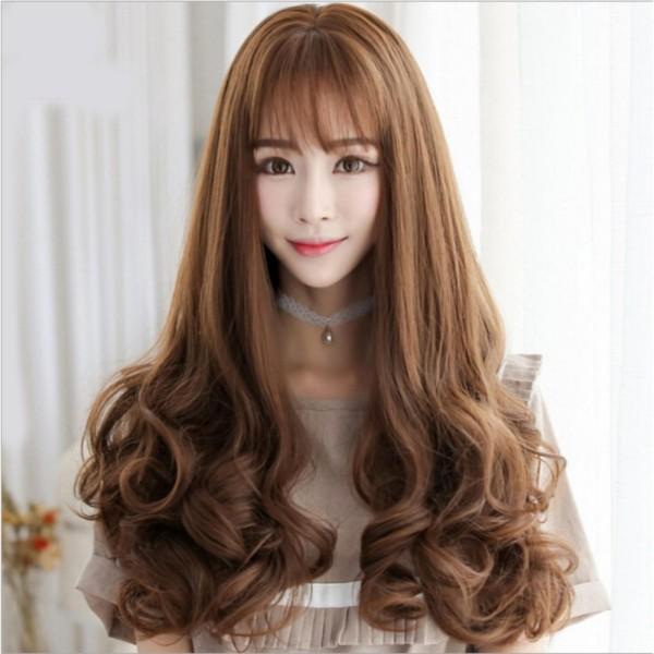 [TẶNG KÈM LƯỚI] Tóc giả nữ nguyên đầu sợi tơ Hàn Quốc CÓ DA ĐẦU - TG982 ( NÂU VÀNG Y HÌNH ) cao cấp