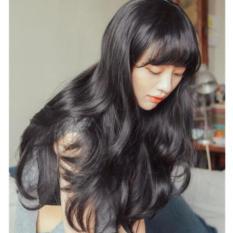 Tóc giả nữ Hàn Quốc cao cấp có da đầu + tặng kèm Lưới trùm tóc -  TG5865 ( MÀU ĐEN TỰ NHIÊN )