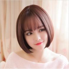 Tóc giả nữ Hàn Quốc cao cấp có da đầu + tặng Lưới trùm tóc - TG7385 ( MÀU NÂU ĐẬM )
