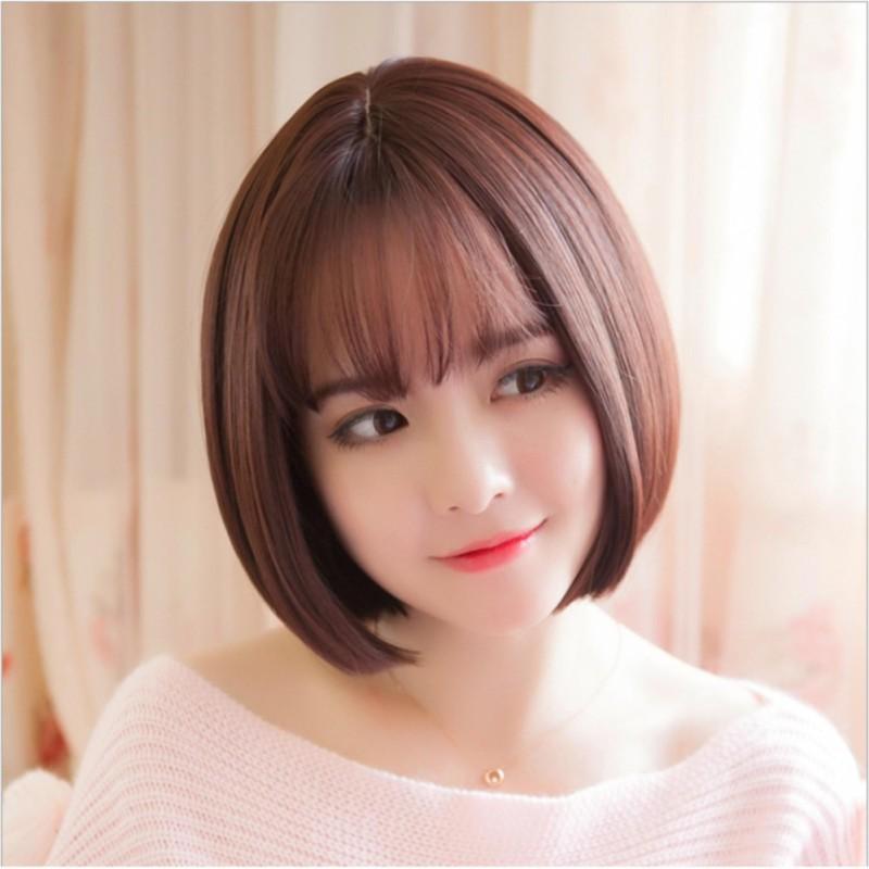 Tóc giả nữ Hàn Quốc cao cấp có da đầu + tặng Lưới trùm tóc - TG7385 ( MÀU NÂU ĐẬM ) nhập khẩu