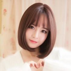 [TẶNG KÈM LƯỚI] Tóc giả nữ nguyên đầu sợi tơ Hàn Quốc CÓ DA ĐẦU - TG74 ( NÂU TỐI )