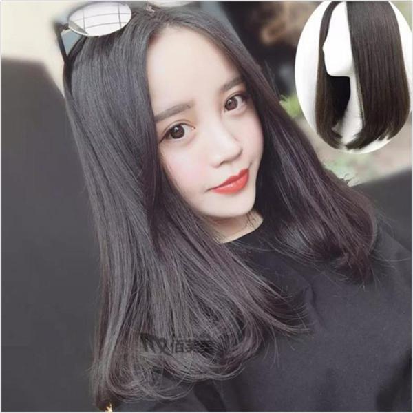 [TẶNG KÈM LƯỚI] Tóc giả nữ nguyên đầu sợi tơ Hàn Quốc CÓ DA ĐẦU - TG80 ( MÀU ĐEN ) cao cấp