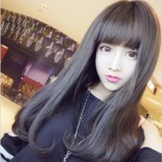 [TẶNG KÈM LƯỚI] Tóc giả nữ nguyên đầu sợi tơ Hàn Quốc CÓ DA ĐẦU - TG78 ( NÂU TỐI )