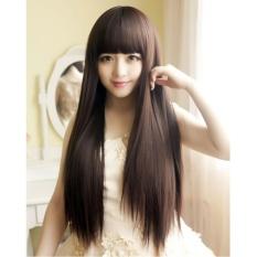 [TẶNG KÈM LƯỚI] Tóc giả nữ nguyên đầu sợi tơ Hàn Quốc CÓ DA ĐẦU - TG19 ( NÂU TỐI )