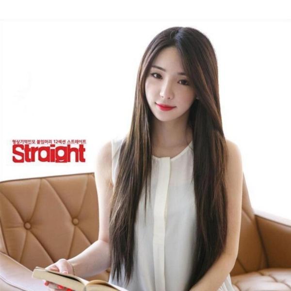 [TẶNG KÈM LƯỚI] Tóc giả nữ nguyên đầu sợi tơ Hàn Quốc CÓ DA ĐẦU - TG21 ( NÂU TỐI ) cao cấp