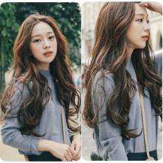 Tóc giả nữ Hàn Quốc cao cấp có da đầu + tặng kèm lưới - TG873 ( MÀU NÂU TỐI )