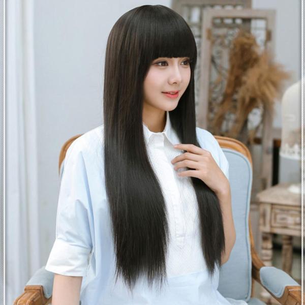 [TẶNG LƯỚI TRÙM] Tóc giả nữ Hàn Quốc có da đầu - TG19 ( MÀU ĐEN )